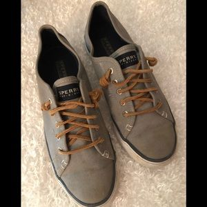 Sperry Gray Top-Sider Canvas Shoes Size 8M